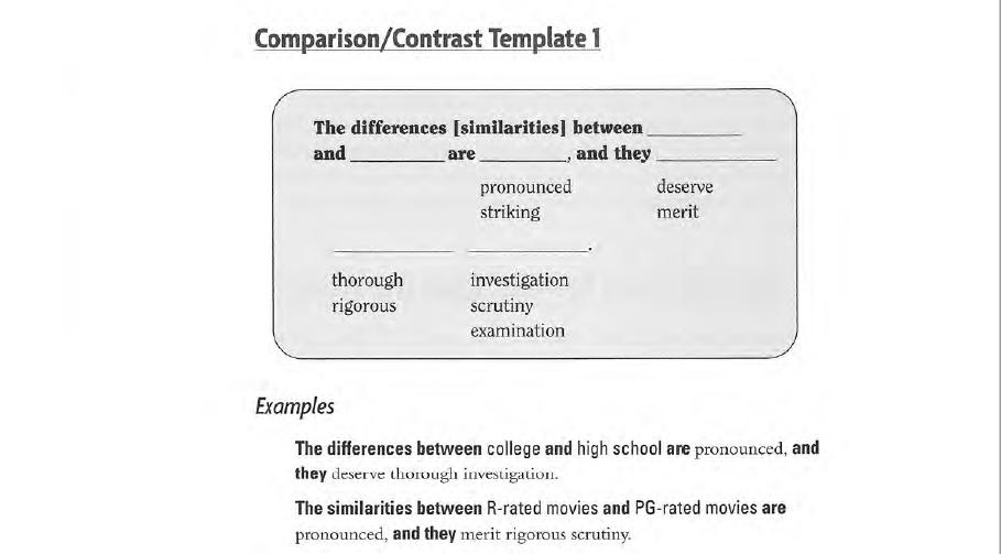 نموذج من كتاب The Writing Template Book يوضح قالب مقدمة مقال بطرح التعارض أو المقارنة بين شيئين